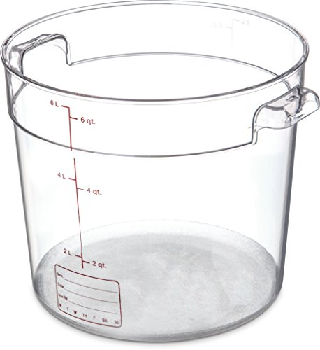 - Carlisle 1076507 StorPlus Polycarbonate Round Food Storage Container, 6 Quart, Clear