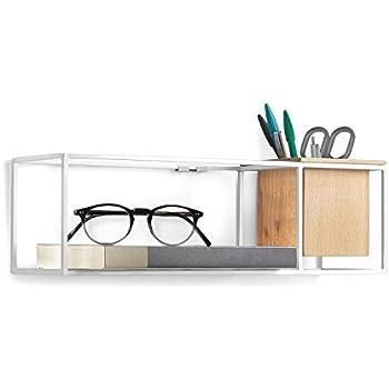 Amazon Com Umbra Cubist Floating Wall Shelf Small White