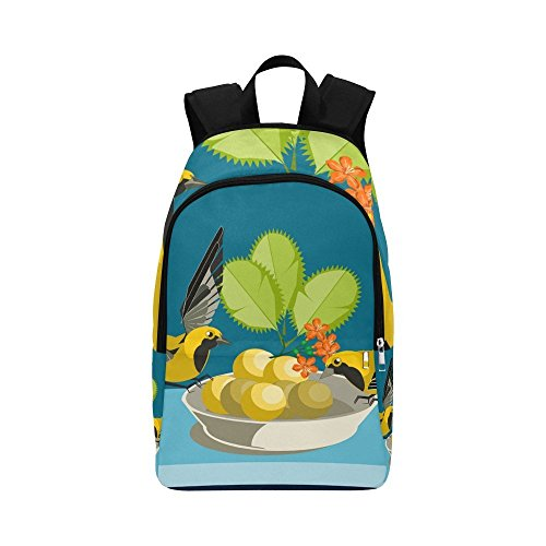 ENEVOTX Birds Bowl Flowers Fruit Leaves Food Fluttering Casual Daypack Travel Bag College School Backpack For Mens And Women ()