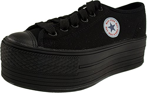 Sneakers Platform Black Canvas Boat Shoes Oxford Low Maxstar Top qYtv8wU