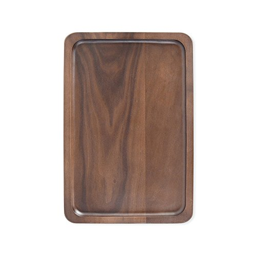 - Musowood Walnut Rectangular Serving Tray, Solid Wood Handcrafted Decorative Trays Food Tray (13.39