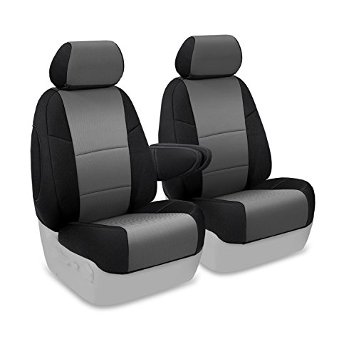 Coverking Custom Fit Front 50/50 Bucket Seat Cover for Select Toyota FJ Cruiser Models - Spacermesh 2-Tone (Gray with Black Sides)
