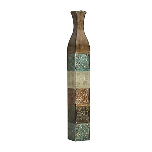 Elements Embossed Metal Suzani Tile Decorative Vase, 42-Inch