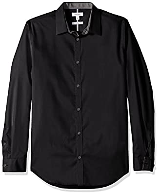 Calvin Klein Men's Chainlink Dobby Infinite Cool Long Sleeve Button Down Shirt