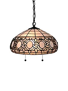 Amora Lighting AM298HL16 Tiffany Style White Hanging Lamp Inches Wide, 16""