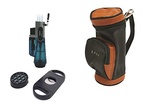 F.e.s.s. Fess Golf Gift Set Mini Golf Bag Humidor with Humidifier and Cutter ()
