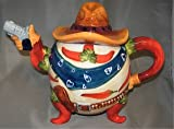 CHILI pepper Southwestern SOMBRERO tea pot TEAPOT NEW