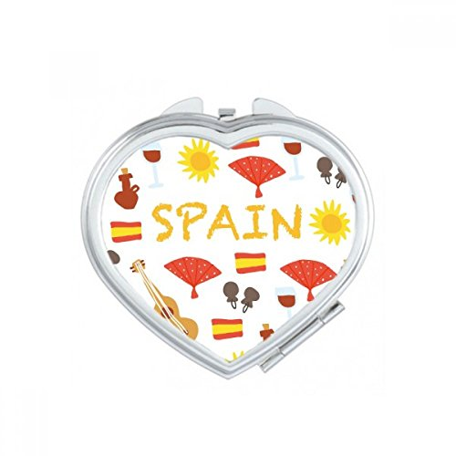 Spain Flamenco Music Food Heart Compact Makeup Pocket Mirror Portable Cute Small Hand Mirrors Gift by DIYthinker