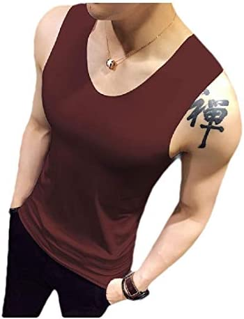 メンズVネックノースリーブ通気性伸縮性ピュアカラースリムタンクAシャツ