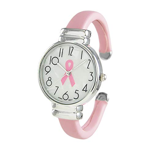 (Rosemarie Collections Women's Breast Cancer Pink Ribbon Mother of Pearl Face Vegan Leather Bangle Cuff Watch)