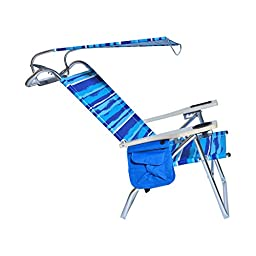 Deluxe 4 position Aluminum Beach Chair w/ Canopy & Storage Pouch