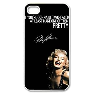 Customized Cover Case with Hard Shell Protection for Iphone 4,4S case with Monroe Quote lxa#902540