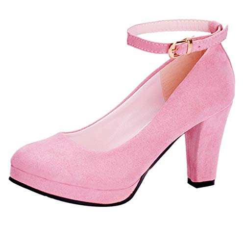 Sunhusing Ladies Round Head High Heels Single Shoes Womens Ankle Straps Buckle Casual Suede Shoes