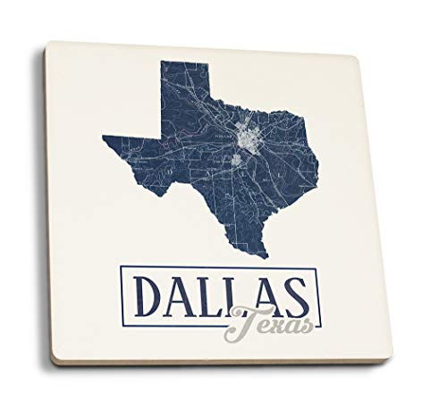 - Lantern Press Dallas, Texas - Map and City - State Outline (Set of 4 Ceramic Coasters - Cork-Backed, Absorbent)