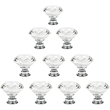 Dxhycc 10 Pcs Crystal Glass Cabinet Knobs 30mm Diamond Shape Drawer Kitchen  Cabinets Dresser Cupboard Wardrobe