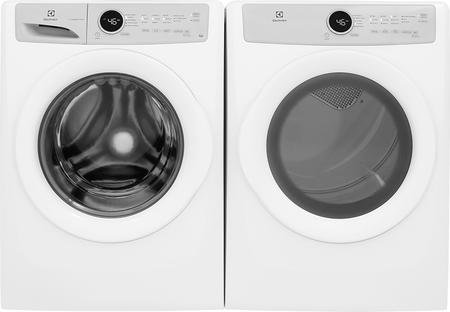 Electrolux White Front Load Laundry Pair with EFLW317TIW 27″ Washer and EFDG317TIW 27″ Gas