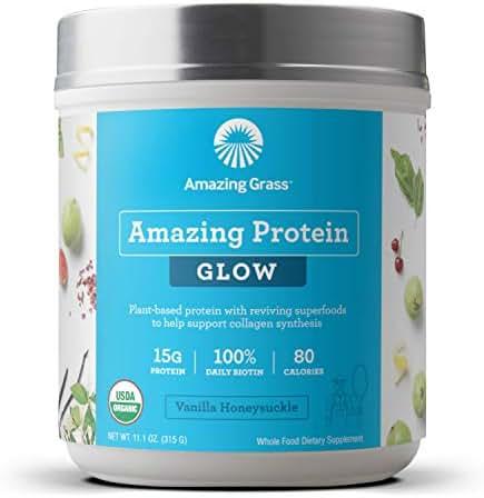 Amazing Grass GLOW Vegan Protein Powder: Organic Plant Based Collagen Support Protein Powder with Biotin Supplements, Vanilla Honeysuckle Flavor, 15 Servings