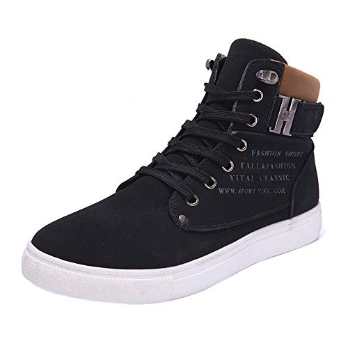 Boomboom Unique Style Men Casual High Top Oxfords Sneakers Shoes (Black,US 9.5)