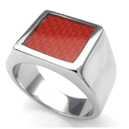 [Gnzoe Men Stainless Steel Ring, Two Tone Carbon Fiber Wedding Rings, Silver Red, Size 11] (Johnny Depp Wolf Costume)