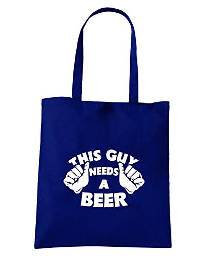 Speed Shirt Borsa Shopper Blu Navy FUN0014 THIS GUY NEEDS BEER