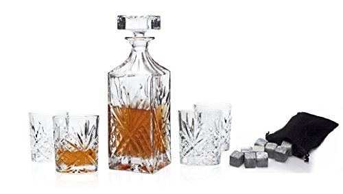 Godinger Silver Art Dublin Collection Crystal Whiskey Bourbon Bar Set With 1 Decanter, 4 Dof Glasses, 12 Granite Whiskey Stone Cubes