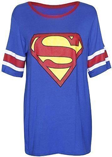 Damen T-Shirt Top Superman Batman Superheld Logo Aufdruck Kurzarm Rundhals Stretch Baseball Lang - EU 40-42, Supermann