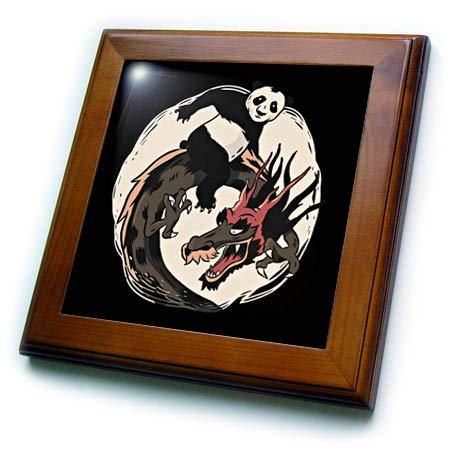 3dRose Sven Herkenrath Fantasy - Fantasy Asia Animals with Dragons and Panda Bear - 8x8 Framed Tile (ft_316111_1)