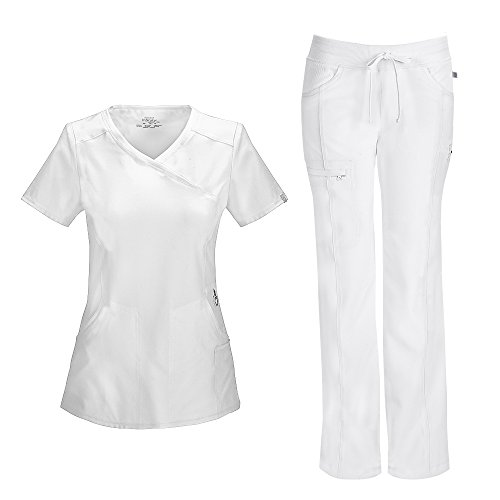 (Cherokee Infinity Women's Mock Wrap Scrub Top 2625A & Low Rise Drawstring Scrub Pants 1123A Scrubs Set (Certainty Antimicrobial) (White - Small/X-Small))