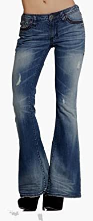 Affliction Women Jeans Ziggy Flare Bottom Metallic Studs Fleur Flap Back Pocket Stretch in Horizon Wash