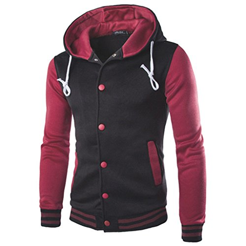 Mens Leisure School Hooded Sweater Baseball Sports Jacket Coats Top (Wine Red,L)