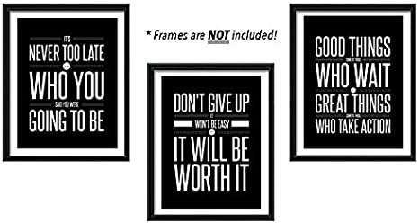 Amazon Com Don T Give Up 3 Poster Set Motivational Inspirational Quote Wall Art Posters Black White Typographic Unframed Wall Home Decor Office Classroom Dorm Room Gym Entrepreneur 8 X 10 Posters