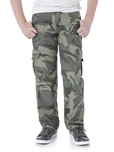 Wrangler Boys Camo Cargo Pants by Classic Twill (12 Slim, Grey (Boys Cargo Camo)