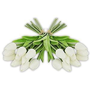 EZFLOWERY 20 Heads Artificial Tulips Flowers Real Touch Arrangement Bouquet for Home Room Office Party Wedding Decoration, Excellent Gift Idea for Mothers Day (20, White) 59