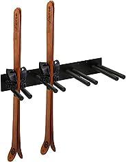 MyGift Modern Black Metal Wall Mounted Ski or Snowboard Rack, Home and Garage Hanging Vertical Skis Storage -