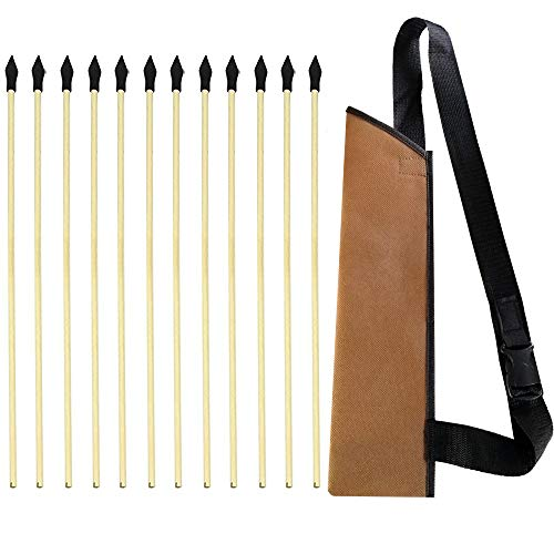 KNIDOSE 12 Pcs Safety Archery Target Arrows with Quiver - 18 Inch Handmade Wooden Arrows for Kids and Beginners | Soft Rubber Tips for $<!--$13.99-->