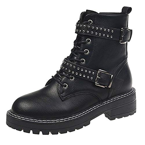 Excursion Clothing Women Fashion Winter Round Toe Lace Up Boots Platform Punk Belt Buckle Motorcycle Causal Ankle Rivets Boots for Girls