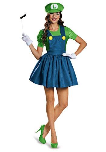 Disguise Women's Luigi Skirt Version Adult Costume, Green/Blue, Small