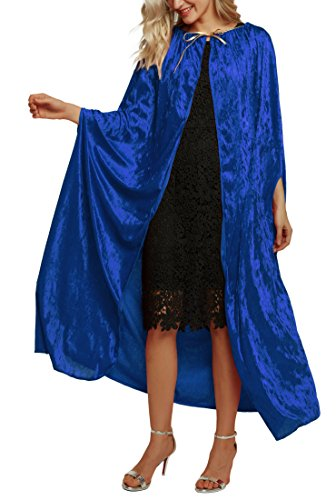 Urban CoCo Women's Costume Full Length Crushed Velvet Hooded Cape (Series 2-Blue)]()