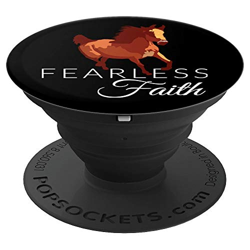 Fearless Faith Christian Horse Graphic Design Novelty - PopSockets Grip and Stand for Phones and Tablets