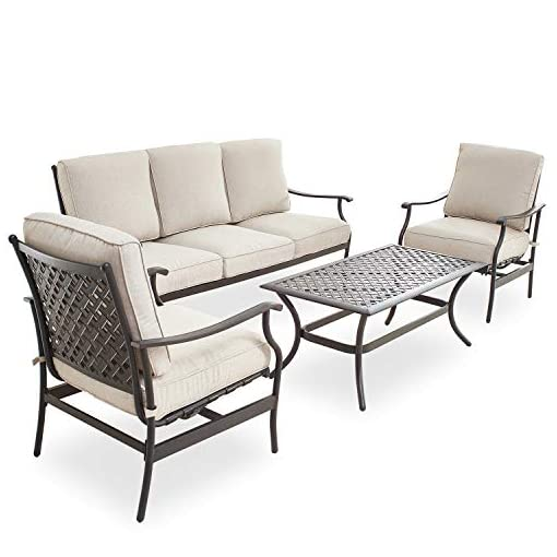 Garden and Outdoor PatioFestival Patio Conversation Set Cushioned Outdoor Furniture Sets with All Weather Frame (4Pcs, Beige) patio furniture sets
