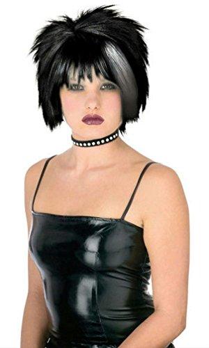 Popcandy Black with White Blonde Streak Pristine Punk Wig ()