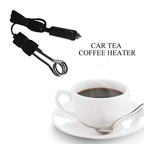 Portable 12V Car Immersion Heater Auto Electric Tea Coffee Water Heater-Black