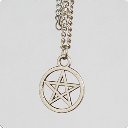 Pointed Antique Letter - Charm Five-pointed Star Necklace, Silver Necklace, Chain Necklace