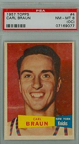 1957 Topps Basketball 4 Carl Braun PSA 8 Off-Center