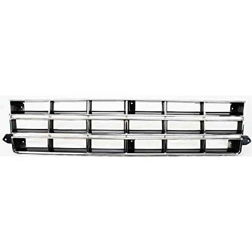 Evan-Fischer EVA17772010832 Grille for Chevrolet S10 Blazer 83-90/S10 Pickup 82-90 Chrome Shell/Painted-Black Insert ()