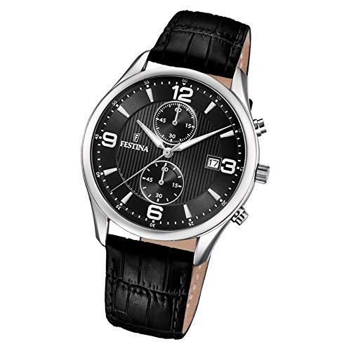 Festina herr kronograf kvartsklocka med läderarmband F6855/8