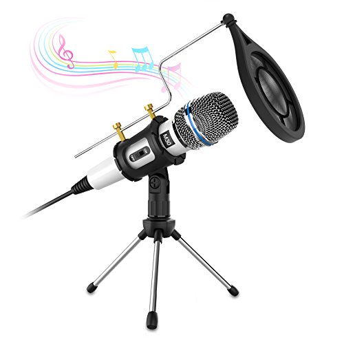 Professional Condenser Microphone,Valoin 3.5mm Plug & Play Home Studio Condenser Microphone with Tripod for PC Laptop Desktop Interview Recording Online Chatting Podcasting and More