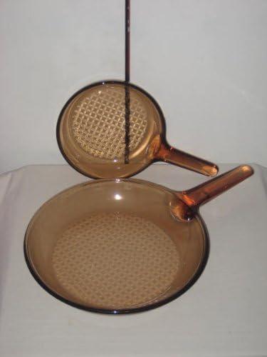 2 Corning Visions Vision Ware / Visionware Amber 7 inch & 10 inch Frying Pan / Skillet Set