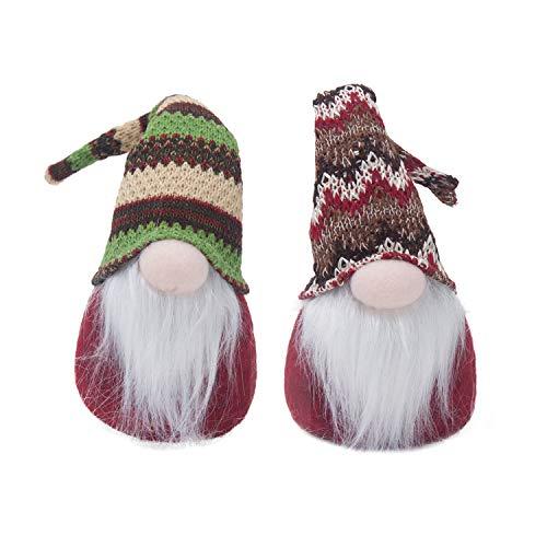 GMOEGEFT Handmade Swedish Plush Gnome, Scandinavian Tomte, Elf Nisse, Home Decoration Table Ornament, 12 Inches (2 Set E) ()