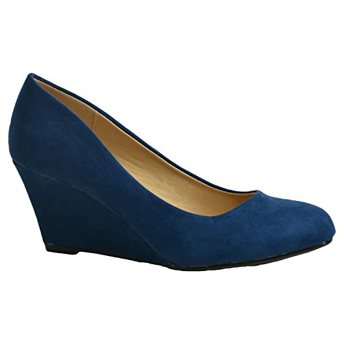 Azul Con Mujer Oscuro Cuña Cucu Sandalias Fashion Enw0xCqCX4